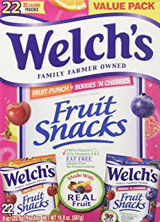 Welch's Fruit Snacks 22 Pouches - Fruit Punch & Berries 'n Cherries 0.9 oz