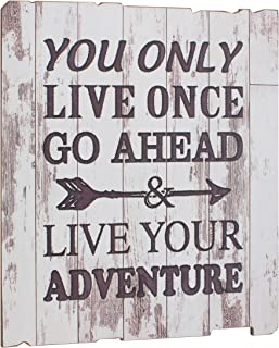 Stonebriar High Plains LIVE YOUR ADVENTURE Weathered White Wood Wall Art
