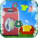 Kids Washing Laundry Clothes