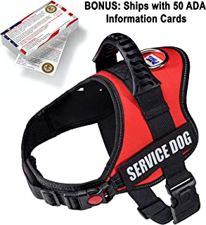 Just 4 Paws Service Dog Harness Jacket with Padded Handle | 6 Sizes | Adjustable Straps & 2 Removable Reflective Patches | Bonus: 50 ADA Information Cards