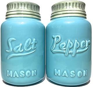 Rustic Ceramic Mason Jar Salt and Pepper Shaker Set - Vintage Style Blue - Retro Antique Farmhouse Decor - Nostalgic Count...