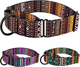 CollarDirect Martingale Collars for Dogs Heavy Duty Tribal Pattern Adjustable Soft Safety Training Nylon Wide Pet Collar Medium Large