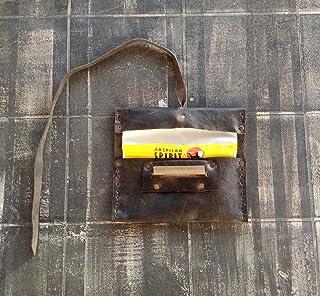 Porta Tabacco The Westlands Vera Pelle Primo Fiore Made in Italy con porta cartine e fiammiferi cuoio Portatabacco sigaret...