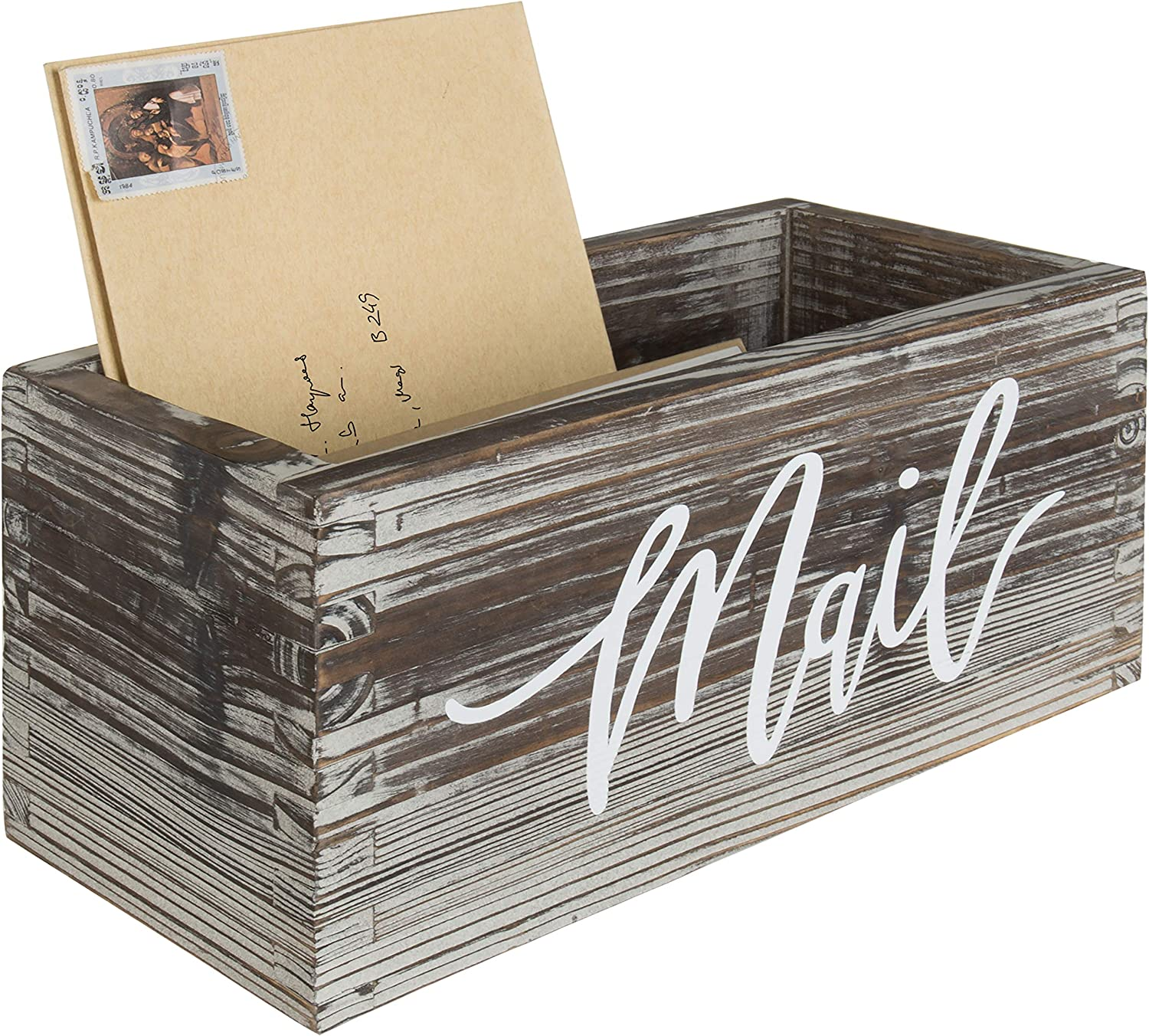 MyGift Recommended Rustic Torched Wood Tabletop Mail Stora Holder Colorado Springs Mall Decorative