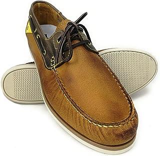 Zerimar Chaussures Bateau en Cuir | Chaussures Nautiques Homme | Mocassins Homme | Grandes Tailles 47-50