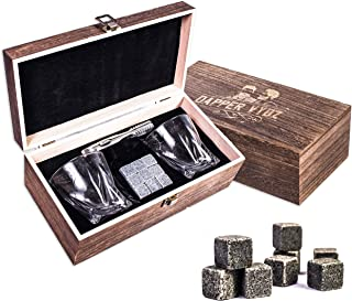 Whiskey Stones Gift Set by Dapper Vybz | 9 Granite Chilling Rocks with 2 Scotch Bourbon Glasses – Unique Gifts for Men Dad Boyfriend Husband on a Birthday Anniversary or Retirement