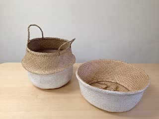 Dipped White Sea Grass Belly Basket Panier Boule Storage Nursery Toy Laundry Easter (Medium)