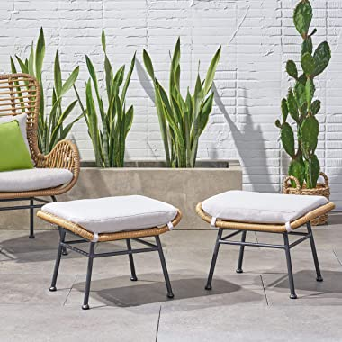 Great Deal Furniture Gloria Outdoor Modern Boho Wicker Ottoman (Set of 2), Light Brown, Beige, and Black