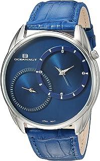 Oceanaut Men's Sentinel Stainless Steel Quartz Watch with Leather Strap, Blue, 21.5 (Model: OC3354)