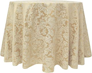 Ultimate Textile Vintage Damask Miranda 52 x 70-Inch Oval Tablecloth Champagne Ivory Cream