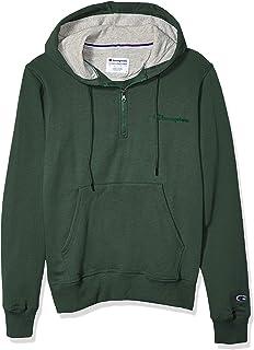 Champion Mens S0892 Powerblend 1/4 Zip Hoodie Long Sleeve Hooded Sweatshirt