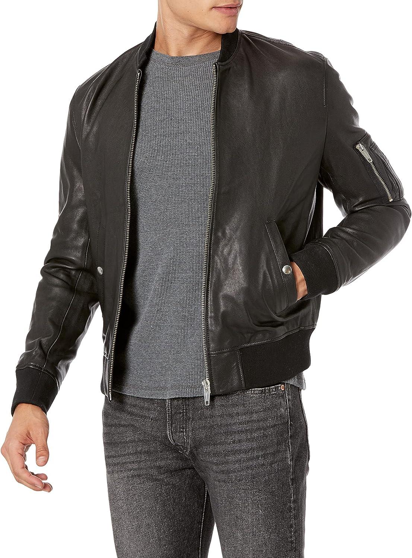The Kooples Men's Leather Bomber Jacket with Arm Pocket, Black, Large