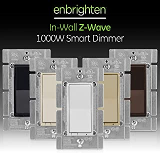 GE Enbrighten, White & Light Almond, Z-Wave Plus 1000W Smart Light Dimmer, Works with Alexa, Google Assistant, SmartThings, No Neutral Wire, Zwave Hub Required, Repeater/Range Extender, 3-Way, 14299