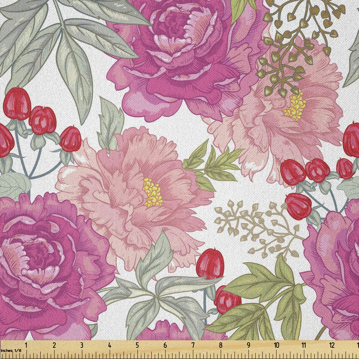 Lunarable Max 69% OFF Floral Fabric by The Yard P Flower Garden with New York Mall Botany