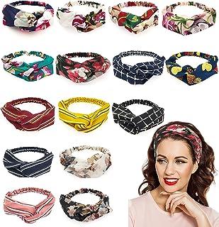 Adramata 15 Pcs Boho Floral Headbands for Women Girls Turban Elastic Head Bands Wrap Twisted Cute Hair Accessories