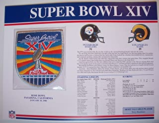 1979 Pittsburgh Steelers vs LA Rams NFL Super Bowl 14 (XIV) 1980 Terry Bradshaw MVP Willabee Ward Patch and Stat Panel Card