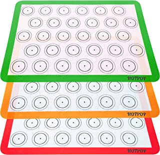 Set of 3 Reusable Silicone Macaron Baking Mats 0.75mm (Half Sheet Liners), Non Stick Silicone Liner for Bake Pans and Rolling – Macaron, Pastry, Cookie, Bun, Brioche, Bread Making