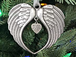 Christmas Ornaments Your Wings were Ready But My Heart was Not Ornament for Christmas Tree - Double Sided Angel Wing Memorial Ornament for Loss of Loved One - Luxurious Silk Ribbon & Red Gift Bag
