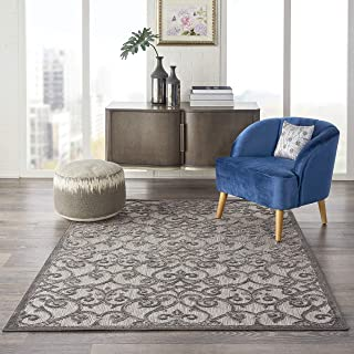 Nourison ALH21 Aloha Indoor/Outdoor Floral Grey/Charcoal 3'6