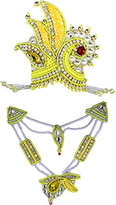 The Holy Mart Yellow Premium Stone & Pearl Mala Mukut (4 Size) | Beautiful Sringar Set for God Krishna Tirupati Shyam