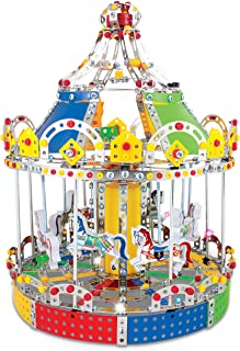 IQ Toys Carousel Merry Go Around Building Model with Metal Beams and Screws Lights & Music 1423 pcs