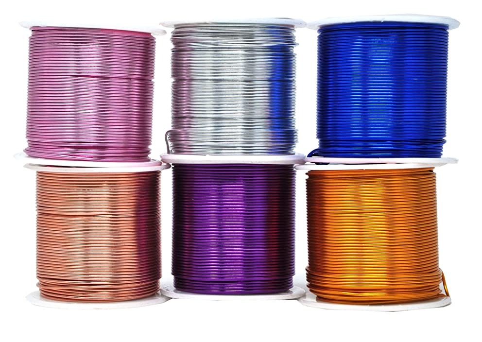 Mandala Crafts Anodized Aluminum Wire for Sculpting, Armature, Jewelry Making, Gem Metal Wrap, Garden, Colored and Soft, Assorted 6 Rolls (18 Gauge, Combo 5)