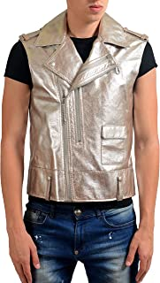 Maison Margiela 10 Men's 100% Leather Metallic Double Breasted Vest US M IT 50