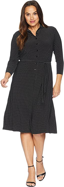 Plus Size Micro Dot Long Sleeve Button Down Ity Dress