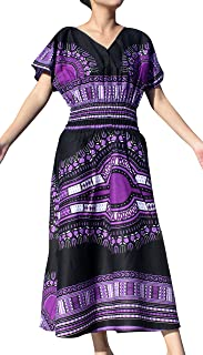 Strong Afrikan Mother Earth Dashiki Dress V Collar Smock Waist Blacks