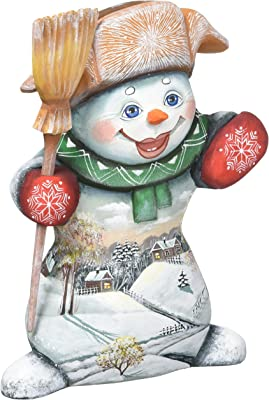 G. Debrekht Carved Wood and Hand-Painted Mr. Snowman Landscape, 10""