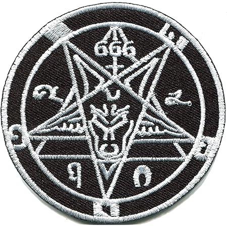 Pentagram Symbol Cloth Embroidered Iron Sew on Metal Goth Brand New Biker n-93