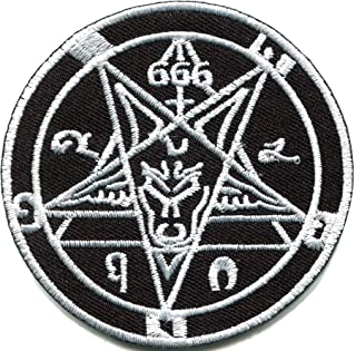 Satanic goat's head Baphomet pentagram pentacle 666 occult embroidered applique iron-on patch new