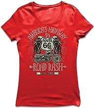 lepni.me Camiseta Mujer Ruta 66, autopista de los Estados Unidos - Road Rash, Ropa de Motorista