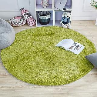 HETOOSHI alfombras mullidas de Interior súper Suaves y mullidas de Terciopelo Linda Alfombra de Dormitorio mullidaAdecuado para salón Dormitorio baño sofá Silla cojín (Verde, 120 x 120 cm)