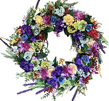 The Wreath Depot Ardmore Spring Front Door Wreath 22 Inch, Gorgeous Faux Spring Flower Wreath, White Storage Gift Box Include