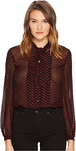 Pintuck Fil Coupe Spot Blouse