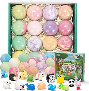 Bath Bombs for Kids with Animal Figures, 16 Pack Bubble Bath Bombs with Surprise Toy Inside, Natural Essential Oil SPA Bat...