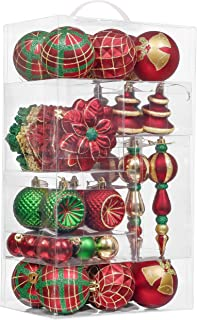 Valery Madelyn 60ct Country Road Shatterproof Christmas Ball Ornaments Decoration Red Green and Gold,1.57Inch-7.09Inch,Themed with Tree Skirt(Not Included)