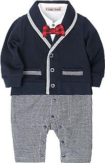 dcd4635d78456 CARETOO Baby-Jungen Bekleidungssets Strampler Baby Langarm Anzug Set  Smoking- Gentleman Baumwolle Festliche Taufe Hochzeit für Frühling Herbst