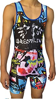 TRI-TITANS Limited Edition Blue Graffiti Wrestling Singlet Folkstyle Youths & Adult Men's
