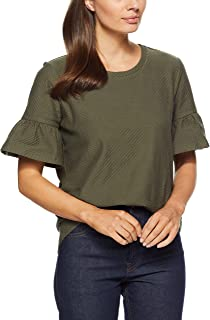 French Connection Women's Ruffle Sleeve TOP, Khaki