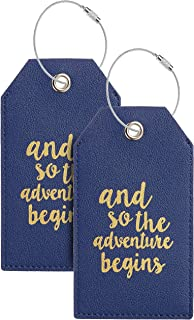 Luggage Tags with Full Back Privacy Cover w/Steel Loops (navy blue 02 pcs set)