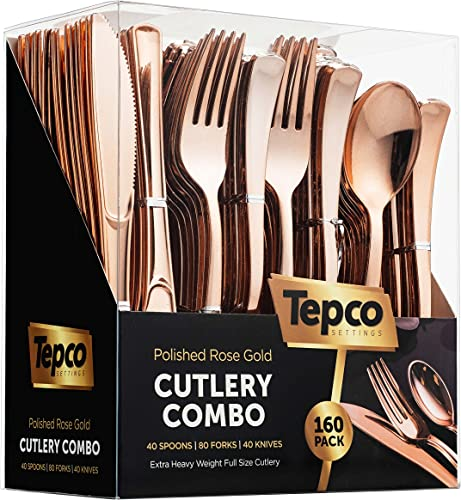 high quality 160 Rose Gold Plastic Silverware Set - Rose popular Gold Flatware Set - Plastic Rose Gold discount Cutlery Set Disposable - 80 Plastic Forks - 40 Plastic Spoons- 40 Plastic Knives - Heavy Duty for Party Bulk Pack outlet sale