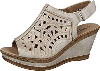 8db592757fc Ladies Cushion Walk Wide E Fit Leather Lined Wedge Peep Toe Strappy Summer Sandal  Size 3