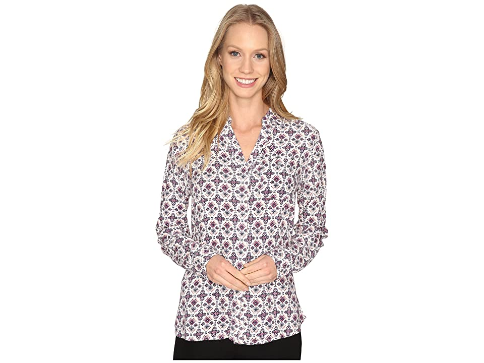 Jag Jeans Roan Shirt in Printed Rayon (Cream/Tile) Women