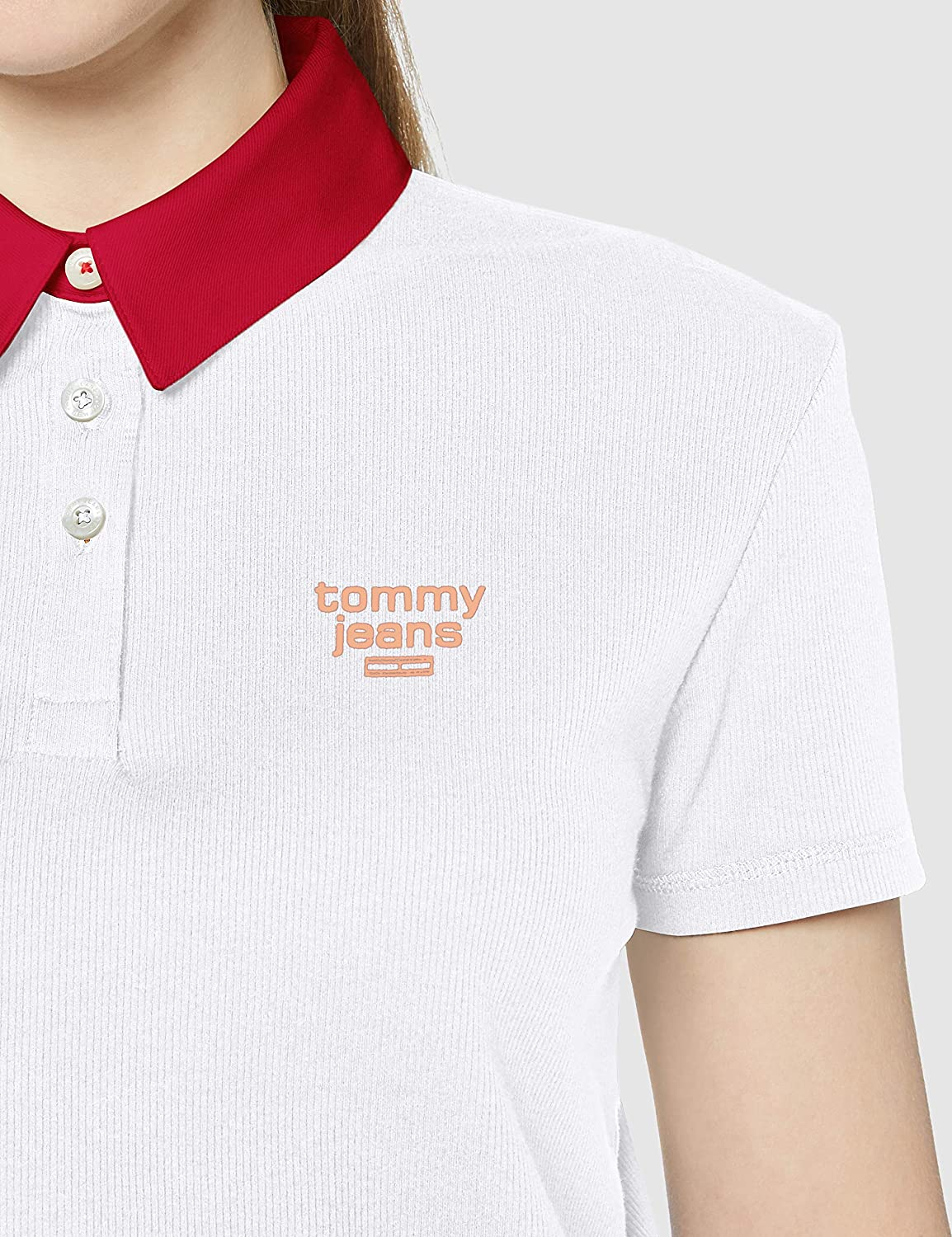 Tommy Jeans Womens Tjw Contrast Collar Polo Shirt
