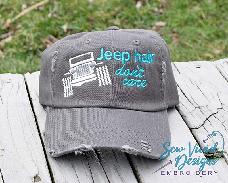 Jeep Hair Don't Care with Wrangler Distressed High Ponytail, Baseball or Trucker Cap tyfhhktr898827