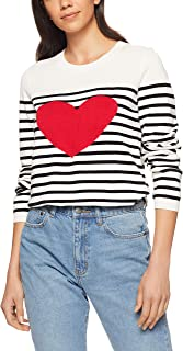 French Connection Women's Stripe Heart Knit, Summer White/Black/Red