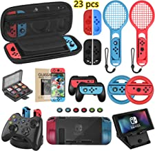 Welwel Accessories Bundle Compatible with Nintendo Switch, Accessories Kit with Carrying Case, 5 Angles Bracket, Charging ...