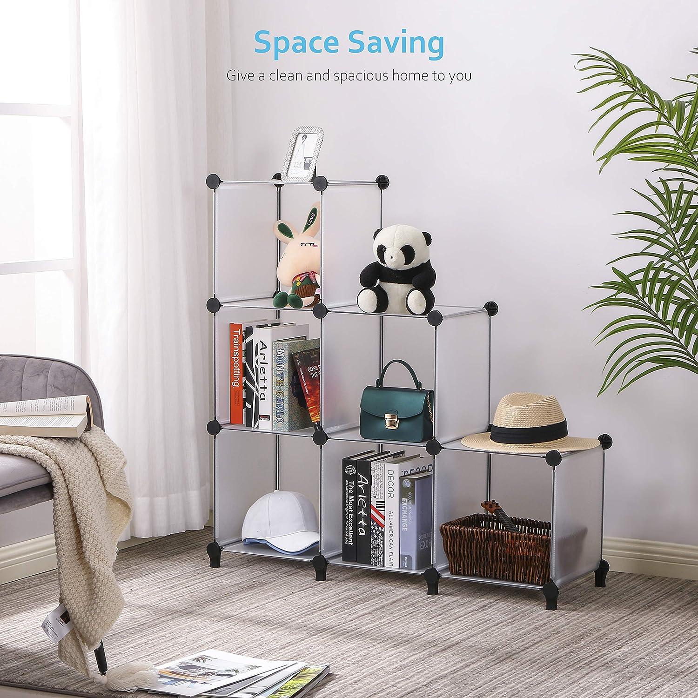 con 6 cubi Anwwide ULCS006T libreria armadietto libreria libreria ufficio armadietto armadietto soggiorno per armadio Organizer a forma di cubo per camera da letto in plastica ecc.